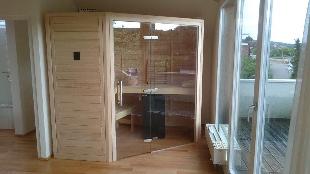 sauna mit glasfront. Black Bedroom Furniture Sets. Home Design Ideas